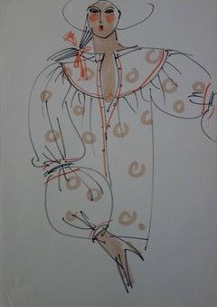 [Mode] Tutti Studio - Original ink and pen drawing : Geometrical Tunic - 1978