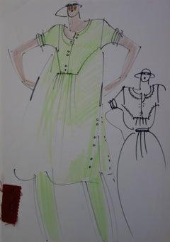 [Mode] Tutti Studio - Original ink and pen drawing : Wide Green Dress - 1978
