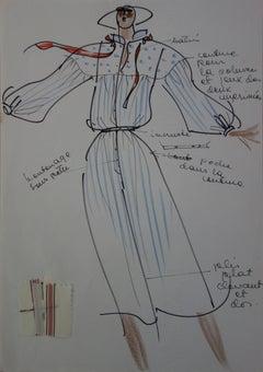 [Mode] Tutti Studio - Original ink and pen drawing : Mid Season Dress - 1978