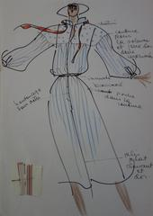 [Mode] Tutti Studio - Original ink and pen drawing : Mid Season Dress - 1978