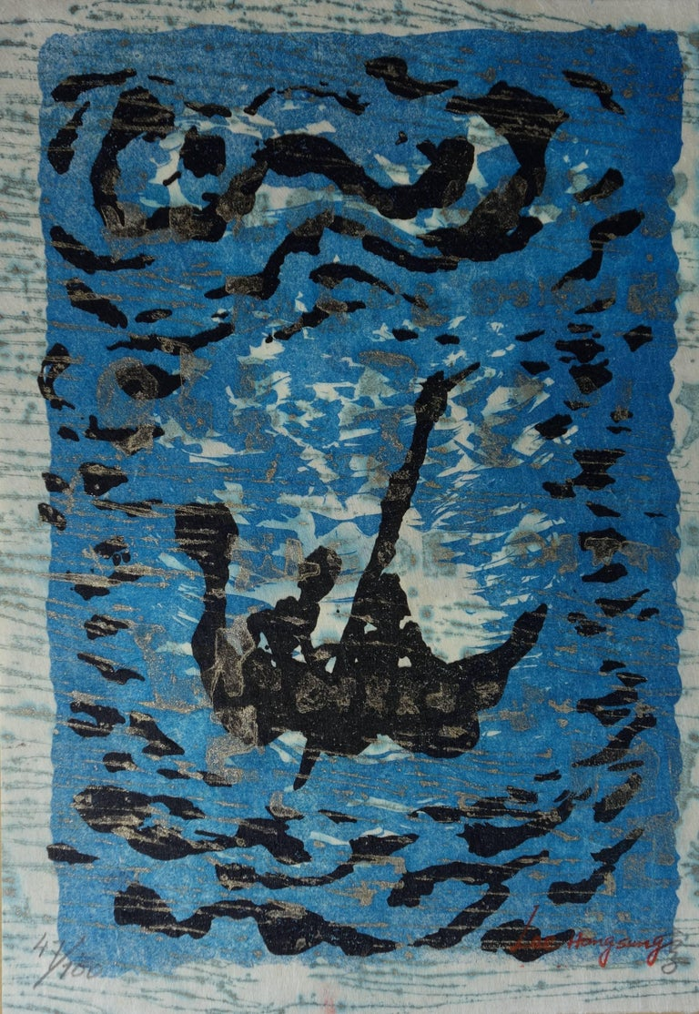 Lee Hang-Sung Figurative Print - Floating Boat - Original handsigned lithograph - 100ex - 1983
