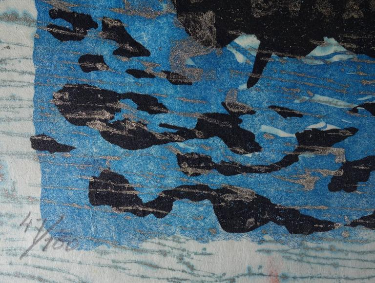 Floating Boat - Original handsigned lithograph - 100ex - 1983 - Modern Print by Lee Hang-Sung