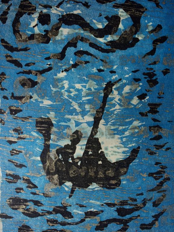 Floating Boat - Original handsigned lithograph - 100ex - 1983 - Blue Figurative Print by Lee Hang-Sung