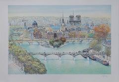 Paris : Seine River, Notre Dame & Ile de la Cite - Tall handsigned lithograph