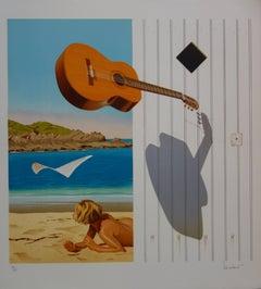 Surrealist Beach & Guitar - Original handsigned lithograph - 275ex