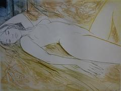 Reclining Nude - Original handsigned etching - 50ex