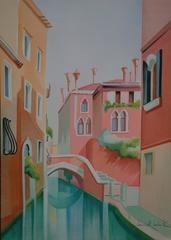 Quiet Canal in Venice - Original handsigned lithograph - 275ex