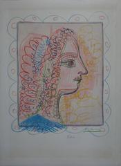 Woman Profile in Blue and Pink - Handsigned lithograph - 70ex