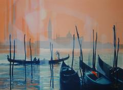 Gondolas and Lagoon in Venice - Original handsigned lithograph - 199ex