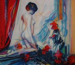 Nude with Dahlias - Original handsigned lithograph - 199ex