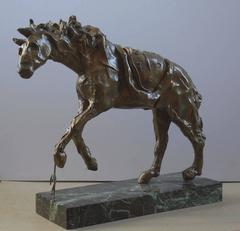Horse with Molt Clock - Tall bronze sculpture - Signed /350ex