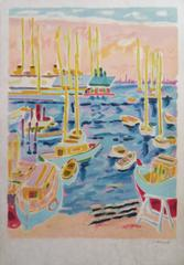Cannes Harbour - Signed lithograph