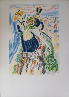 Carnival of Nice : Battle of Flowers - Signed lithograph - 50ex