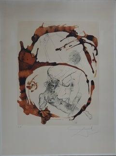 Mythology : Theseus and the Minotaur - Original signed etching