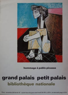 """Seated Cubist Woman - Original vintage poster """"Tribute to Picasso"""" - 1966"""