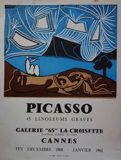 Musician Fauns - Linocut - Arnera 1961