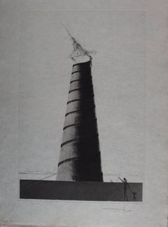 Ten Recipes of Immortality : Zootrope and Boullée Tower - Signed etching