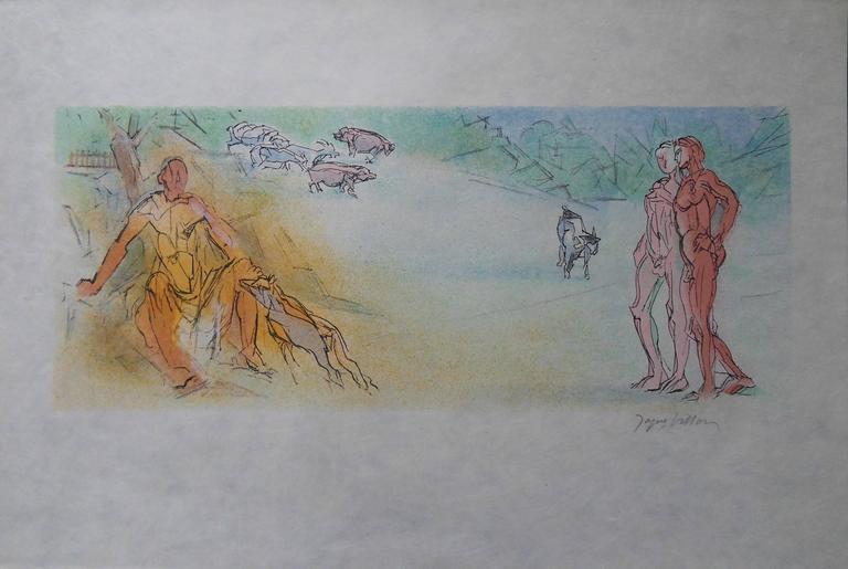 Jacques Villon Figurative Print - Meeting Alexis in a Landscape - Signed lithograph - Mourlot 1953