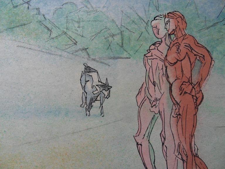 Meeting Alexis in a Landscape - Signed lithograph - Mourlot 1953 - Gray Figurative Print by Jacques Villon