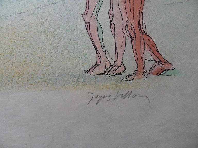 Meeting Alexis in a Landscape - Signed lithograph - Mourlot 1953 - Print by Jacques Villon