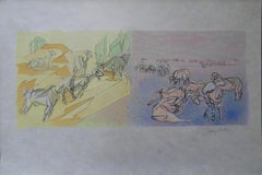 Pastoral View : Goats and Sheeps - Signed lithograph - Mourlot 1953