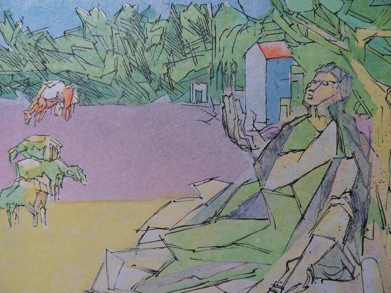 Virgil expelled - Signed lithograph - Mourlot 1953 - Gray Figurative Print by Jacques Villon