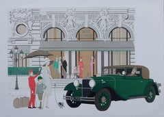 Hotel : Old Mercedes and Hotel de Paris - Signed lithograph - 115ex