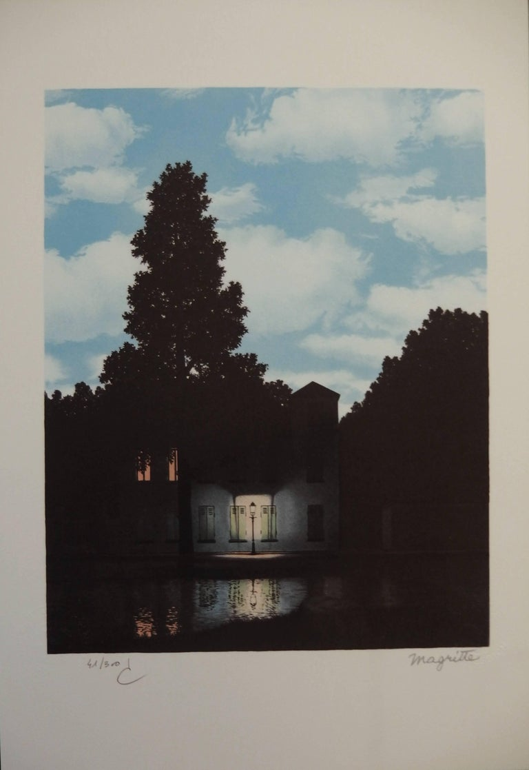 After ren magritte l 39 empire des lumieres lithograph for Rene magritte le faux miroir