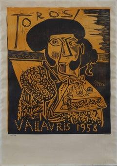 Toros Vallauris 1958 - Tall linocut - Ref. Bloch #1282