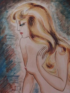 Nude Blond Hair Girl - Original gouache and watercolor painting - Signed - 1939