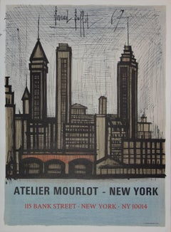 Buildings in New York - Original lithograph - Mourlot 1967