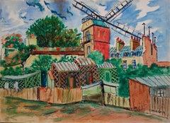 Paris Montmartre : Galette Windmill - Handsigned water color - circa 1950
