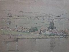 Switzerland Lake and Mountain Landscape - Original Signed Charcoals Drawing