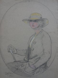 Lady Wearing a Yellow Hat - Original Signed Charcoals Drawing