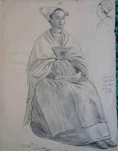 Woman in a Brittany Costume (after Gauguin) - Original Signed Charcoals Drawing