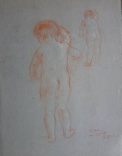 Study of a Young Boy - Original Signed Sanguine Charcoal Drawing - 1903