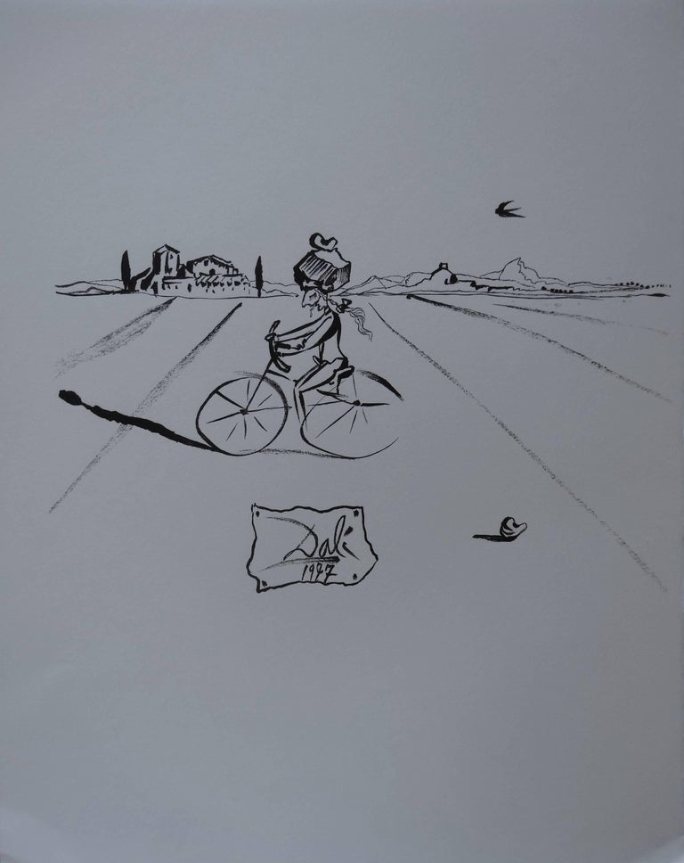 Salvador Dalí Figurative Print - Surrealist Cyclist - Original woodcut - 1978