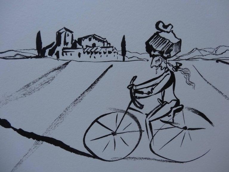 Surrealist Cyclist - Original woodcut - 1978 - Gray Figurative Print by Salvador Dalí