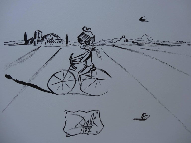 Salvador Dali (1904-1989) - Surrealist cyclist   Original engraved wood on vellum  Printed signature in the plate  15 x 12