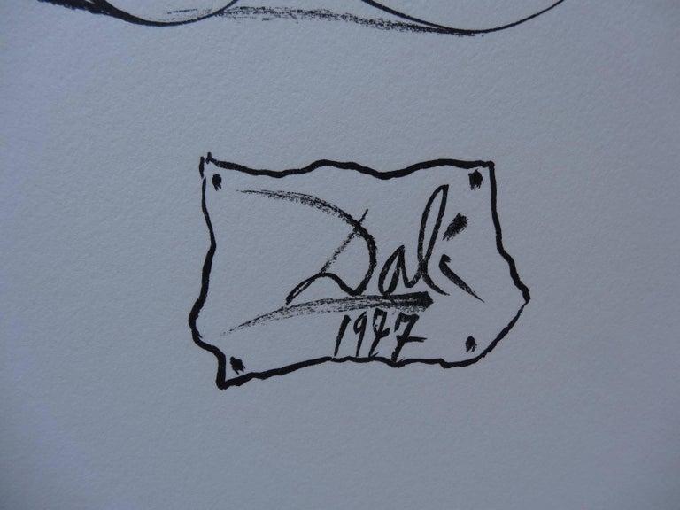 Surrealist Cyclist - Original woodcut - 1978 - Print by Salvador Dalí