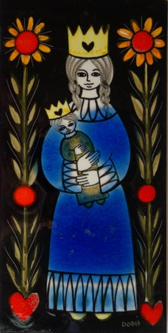 Celestial Kingdom : Mary and Jesus - Handsigned original Ceramic panel - c. 1970