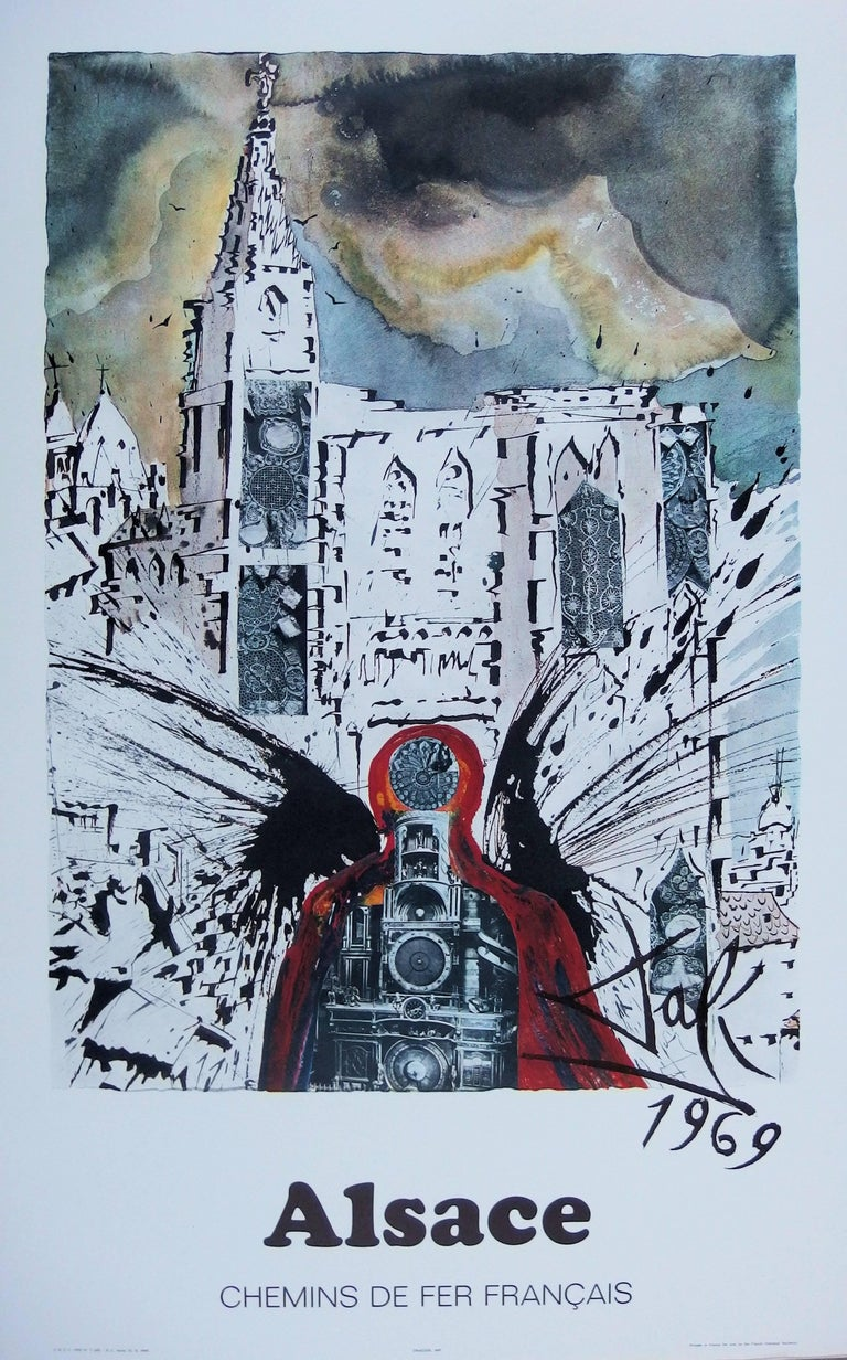 (after) Salvador Dali Figurative Print - Butterfly suite : Alsace / Strasbourg - lithograph - Tall size, 1969