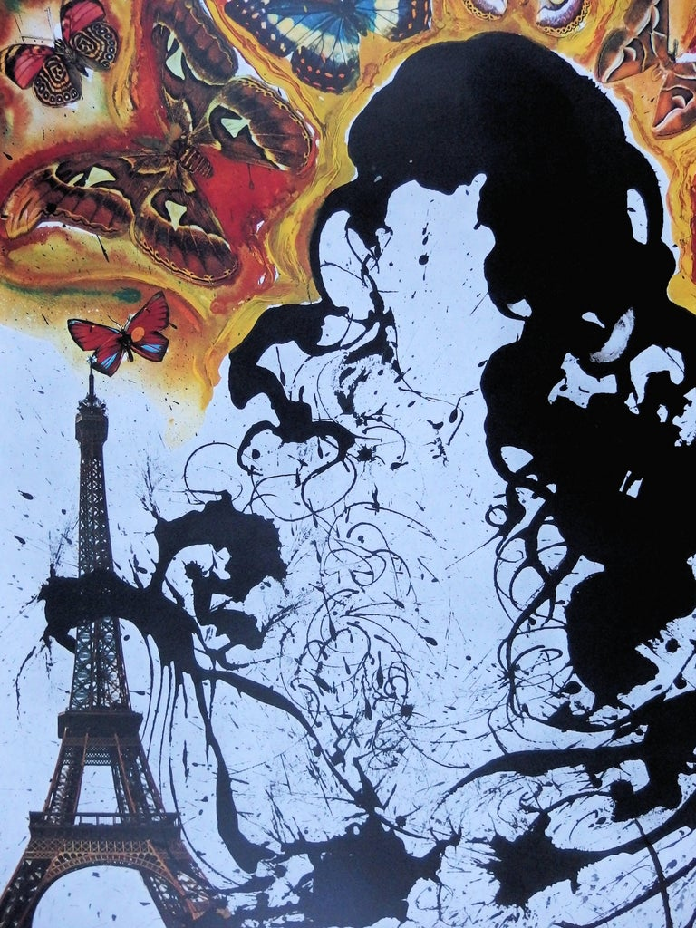 Butterfly suite : Paris -  lithograph - Tall size, 1969 - Gray Figurative Print by (after) Salvador Dali