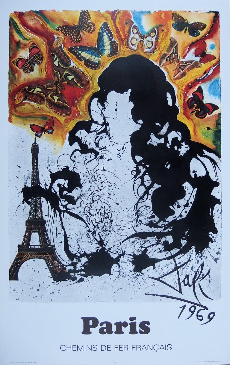(after) Salvador Dali Figurative Print - Butterfly suite : Paris -  lithograph - Tall size, 1969