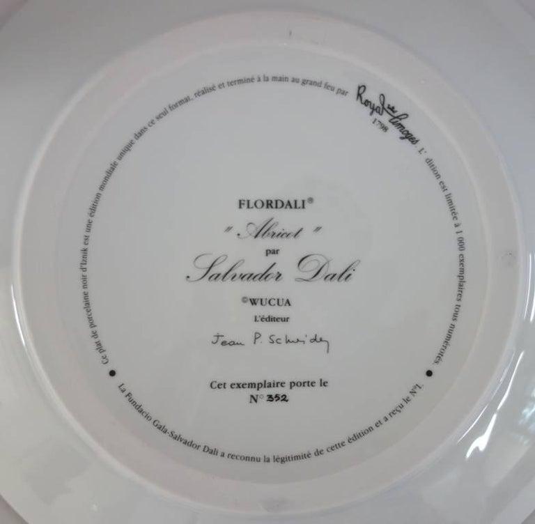 Flordali, Knight Apricot - Porcelain dish (Black finish) - Surrealist Sculpture by (after) Salvador Dali