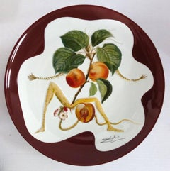 Flordali, Knight Apricot - Porcelain dish (Bordeaux red finish)