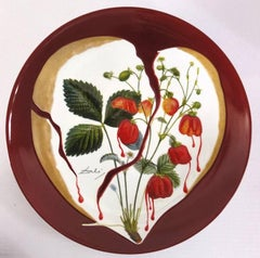 Flordali, Heart of Strawberries - Porcelain dish (Bordeaux red finish)