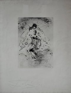 Pieta : Isis Soutenant Osiris Mutile - Rare early etching - Boldly handsigned