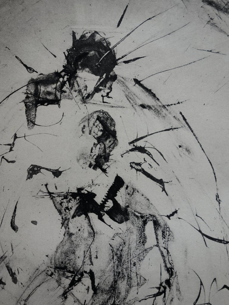 Pieta : Isis Soutenant Osiris Mutile - Rare early etching - Boldly handsigned - Gray Figurative Print by (after) Salvador Dali