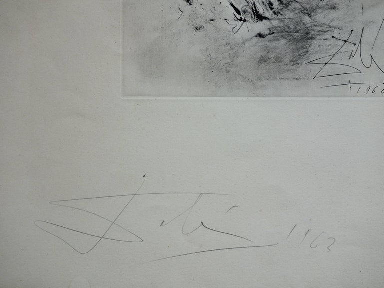 Pieta : Isis Soutenant Osiris Mutile - Rare early etching - Boldly handsigned - Print by (after) Salvador Dali